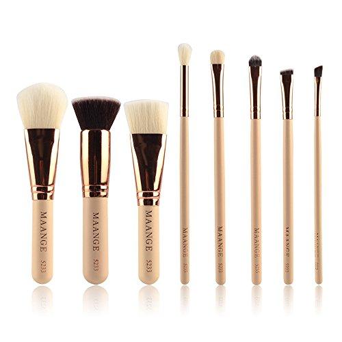 BERYLSHOP 8pcs pinceau de maquillage Set avec bâton noir pinceaux de maquillage de haute qualité en or rose Tube (Couleur : Beige)