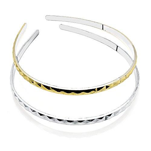 2 Gold & Silver Diamond Cut Plastic Alice Bands AJ28597 by I Heart Fashion Accessories