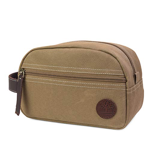 Timberland Men's Toiletry Bag Canvas Travel Kit Organizer, Khaki, One Size