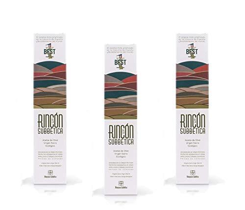 3 x Rincon de la Subbetica - Aceite de oliva virgen extra ecológico variedad hojiblanca botellas de 500 ml Por Oliva Oliva