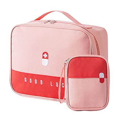 2Pcs Botiquín de Primeros Auxilios Vacio Bolsa Médico de Emergencia Gran Capacidad Bolsa de Primeros Auxilios Portátil Bolsa de Supervivencia Emergencia Botiquín de Viaje Montaña Coche (Rosa)