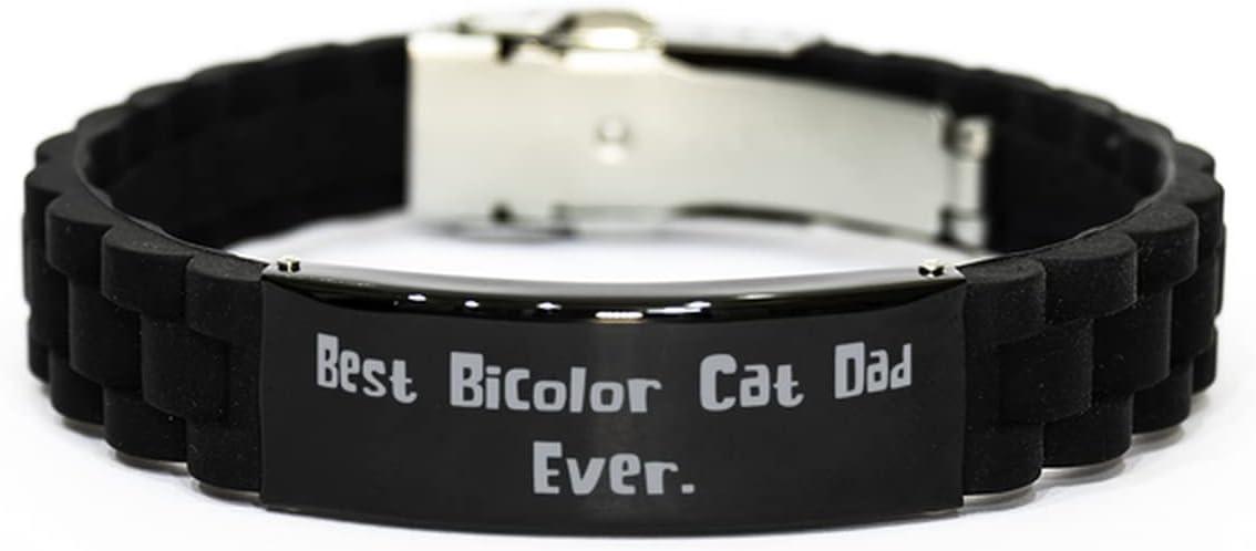 Useful Bicolor Cat Black Glidelock Clasp Bracelet, Best Bicolor Cat Dad Ever for Friends