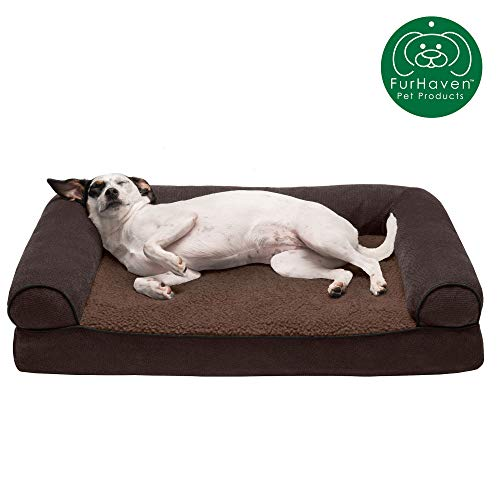 Price comparison product image Furhaven Pet Dog Bed - Orthopedic Faux Fleece and Chenille Soft Woven Traditional Sofa-Style Living Room Couch Pet Bed with Removable Cover for Dogs and Cats,  Coffee,  Medium