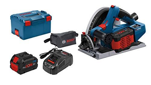 Bosch Professional BITURBO GKT 18V-52 GC - Sierra circular de inmersión a batería (18V, disco Ø 140 mm, conectable, 2 baterías ProCORE x 5.5 Ah, en L-BOXX )