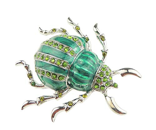 Glamour Girlz Ladies Mens Crystal Diamante Shiny Enamel Lapel Brooch Pin Insect Beetle (Green)