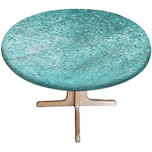 """LCGGDB Turquoise Elastic Edged Polyester Fitted Tablecloth, Polka Dot Mosaic Round Fitted Table Cover Fits Round Table 48"""" Diameter, for Buffet Table, Parties, Holiday Dinner"""