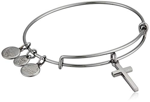 Alex and Ani Divine Guides Expandable Bangle Bracelet for Women, Cross Charm, Midnight Silver Finish, 2 to 3.5 in