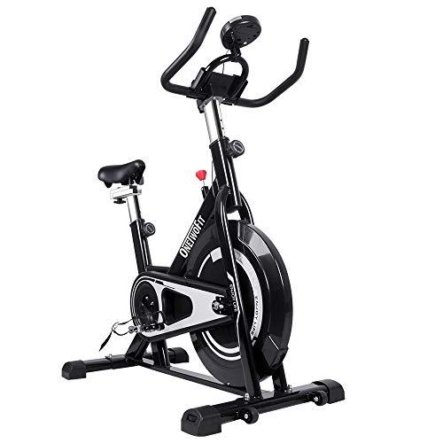 Bicicleta Estática, Bici Spinning Para Interiores, Bike Estática Ultra Silenciosa,Bicicleta Estática,Con Pantalla LCD Y Volante,Resistencia Ajustable, Gimnasio En Casa,Con Asiento Acolchado Ajustable