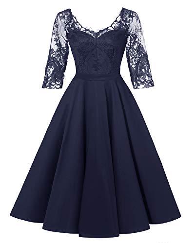LA ORCHID Laorchid Damen Kleider Vintage Spitzenkleid Abendkleid Cocktailkleid Hochzeit Ferien Kleid Knie Lang Navy XL