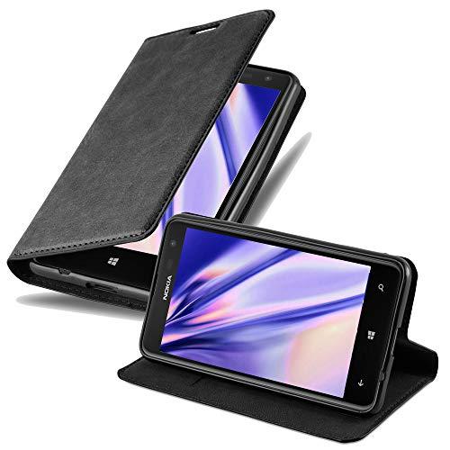 Cadorabo Hülle für Nokia Lumia 625 in Nacht SCHWARZ - Handyhülle mit Magnetverschluss, Standfunktion & Kartenfach - Hülle Cover Schutzhülle Etui Tasche Book Klapp Style