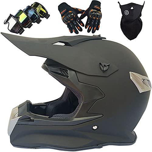 Casco Motocross Niño, Casco de Motocross Profesional Adultos y Jóvenes Cascos de Cross de Moto Set con Gafas/Máscara/Guantes, para MTB Casco Enduro MX Quad ATV de Descenso