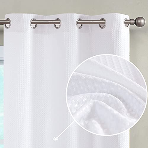 JINCHAN White Curtains for Bedroom 72 Inches Length Waffle-Weave Textured Curtain Panels for Living Room Window Treatment Curtains 2 Panels