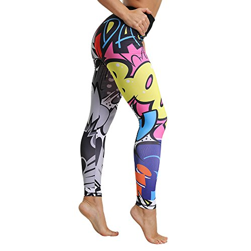 OEAK Damen Bunt Gedruckt Sport Leggings Hohe Taille Strumpfhose Stretch Digitaldruck Sporthose Hüfte Push-up Trainingshose