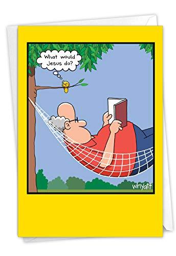 NobleWorks, Holy Bird - Funny Happy Birthday Card for Men, Dad - Cartoon Bird Humor, Bday Notecard with Envelope C3345BDG