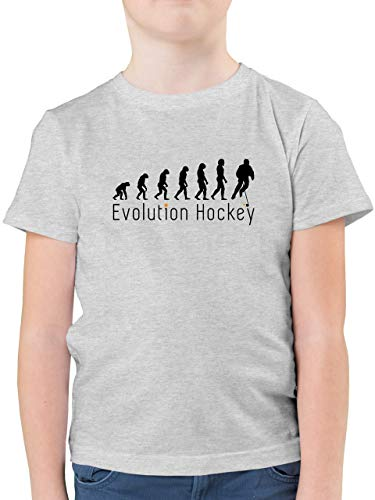 Evolution Kind - Evolution Hockey - 152 (12/13 Jahre) - Grau meliert - Tshirt Jungen 152 Hockey - F130K - Kinder Tshirts und T-Shirt für Jungen