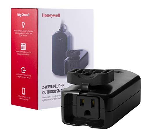Honeywell UltraPro Z-Wave Plus Outdoor Switch, Single Outlet Plug-In   Weather-Resistant for Outside Lighting   ZWave Hub Required - Alexa and Google Assistant Compatible, 39346