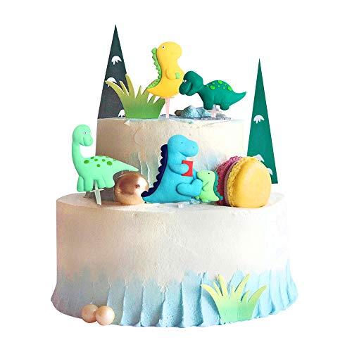 Unimall - 4 piezas de decoración para tarta de dinosaurios, dinosaurios, decoración de pasteles, figuras de dinosaurios, temática de niños, niñas, fiestas de cumpleaños