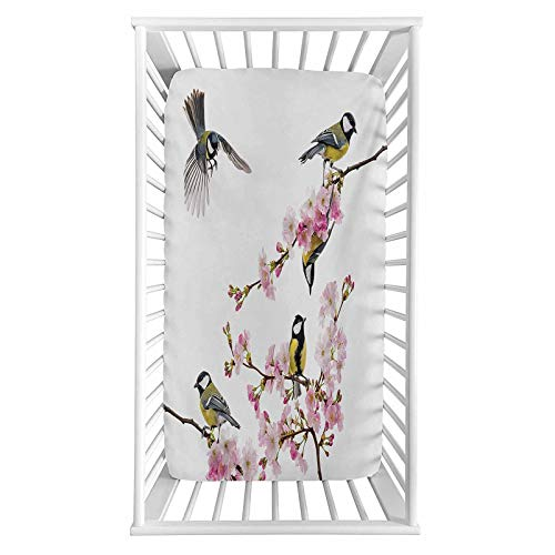 """Birds Fitted Crib Sheet,Group of Cute Hummingbirds on Flowering Branch Best Friends Peace Illustration Home Microfiber Silky Soft Toddler Mattress Sheet Fitted,28""""x 52""""x 8'',Baby Sheet for Boys Girls"""