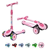 Allek F01 Folding Kick Scooter for Kids, 3-Wheel LED Flashing Glider Push Scooter with Height Adjustable and Foldable Handlebar, Dual...