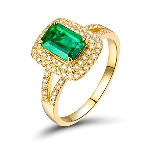 AnazoZ Anillo con Esmeralda Mujer,Anillo de Compromiso Mujer Oro Amarillo 18K Oro Verde Rectángulo Esmeralda Verde 1.23ct Diamante 0.38ct Talla 17