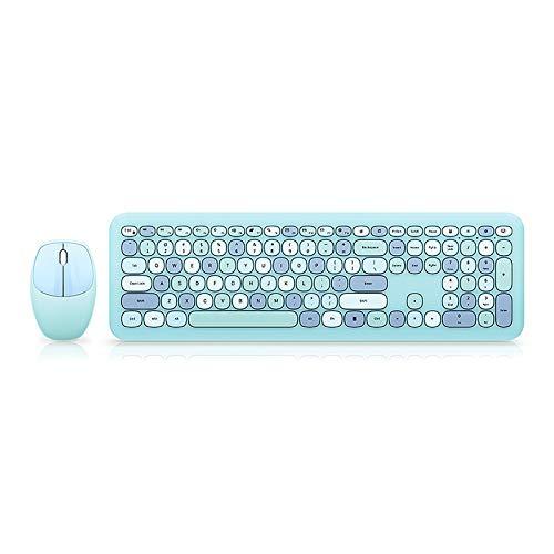 YChoice365 Teclado inalámbrico, Juego de Teclado y Mouse inalámbricos de 2.4 GHz, Teclado silencioso de Ahorro de energía de 110 Teclas y Mouse de 1200 PPP, Colores Mezclados