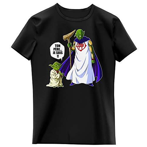 T-Shirt Enfant Fille Noir Parodie Dragon Ball Z - Star Wars - Yoda et Dieu - Ton père. Je suis !! (T-Shirt Enfant de qualité Premium de Taille 5-6 Ans - imprimé en France)