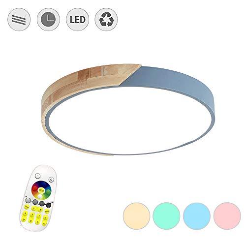 LeMeiZhiJia 48W LED Deckenleuchte Ultra-dünne 5cm - Holz Bunte Runde Deckenlampe für Schlafzimmer Küche Büro Wohnzimmer, RGB