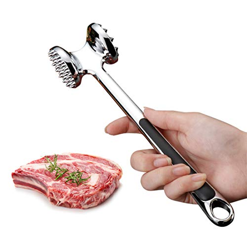 MIGECON Meat Tenderizer Hammer Tool Meat Pounder Mallet for Pounding Beef Steak Chicken Pork Double-sided Meat Hammer with Hanging Hole