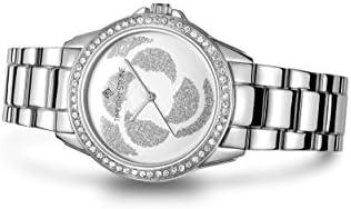 "Timothy Stone Women's ""Katy"" Watch - Swarovski Crystal Embellished Bezel Quartz Movement Pavé Flower Dial"