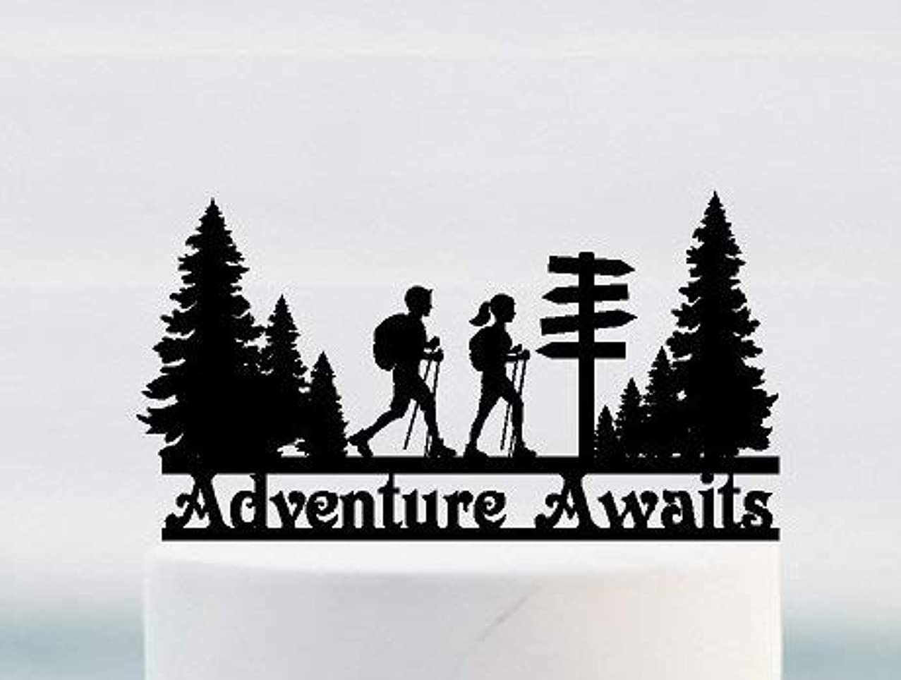 Adventure Awaits for Hikers with Walking Sticks. Your Name or Phrase.