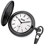 Speidel Classic Brushed Satin Black Engravable Pocket Watch with 14' Chain, Bright Silver Dial, Date Window, Seconds Sub-Dial and Luminous Hands