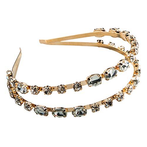 Ixkbiced Tocado de Metal de Diamantes de imitación de Cristal con Brillo de aro de Pelo Fino de joyería de Doble Fila