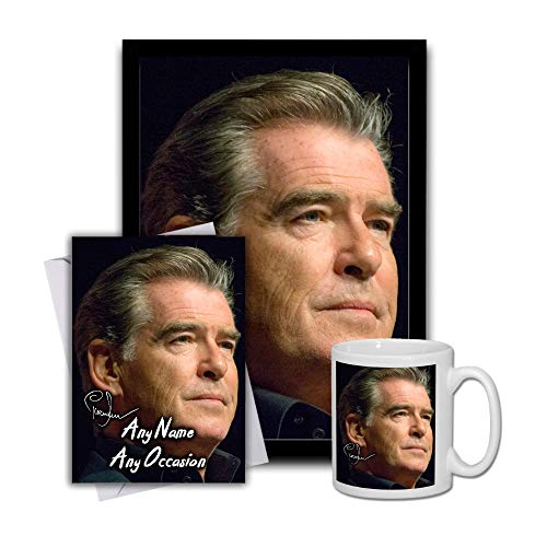 Star Prints UK Pierce Brosnan 007 James Bond 1 Gift Set Bundle 2019 - Large 11cm Mug, A4 Framed Poster And Matching Birthday or Christmas Card (No Personalised Card)