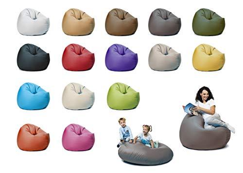 sunnypillow XL Sitzsack mit Styropor Füllung 100 cm Durchmesser 2-in-1 Funktionen zum Sitzen und Liegen Outdoor & Indoor für Kinder & Erwachsene viele Farben und Größen zur Auswahl Anthrazit