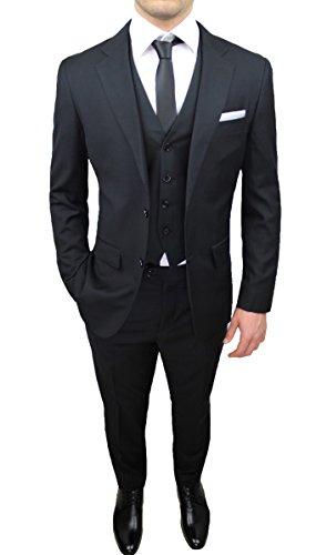 Abito Completo Uomo Sartoriale Nero Elegante con Gilet, Cravatta e Pochette in Coordinato (60)