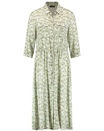 Taifun Damen Midi-Kleid mit Snake-Print figurumspielend, tailliert Khaki Leaf Gemustert 44