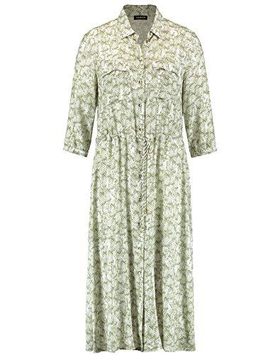 Taifun Damen Midi-Kleid mit Snake-Print figurumspielend, tailliert Khaki Leaf Gemustert 42