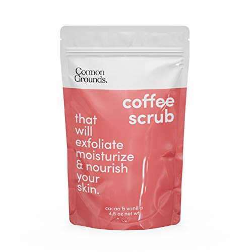 Coffee Body and Face Scrub (Cacao & Vanilla) - 100% Natural Arabica Exfoliating, Acne, Anti Cellulite, Stretch Marks, Varicose Vein Wash & Eczema Treatment. Dead Skin Remover. Moisture Care