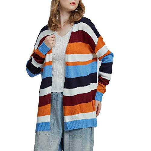 Womens Color Block Striped Draped Kimono Cardigan Long Sleeve Loose Open Front Casual Knit Sweaters Coat Soft Outwear