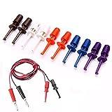 ILS – 30 unidades multímetros de prueba de cable conductor gancho Set de sondas para prueba electrónica Mini clip rojo blanco azul negro morado para herramienta de reparación