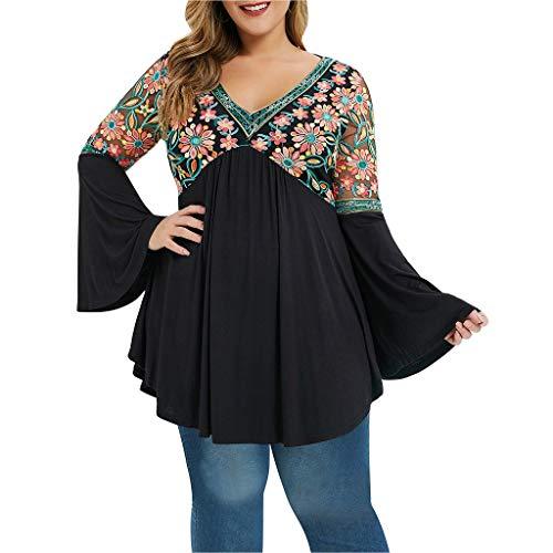 Frauen V-Ausschnitt Plus Größe Langarm Tops Flare Ärmel Bestickt T Shirt Bluse Weihnachten Kleid Lace Up Swing Vintage Ballkleid Party Kleider Faschingskostüme