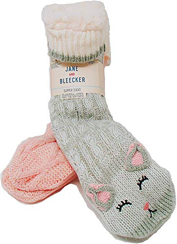 Jane and Bleecker 2 Pair Slipper Socks, Grey & Pink, One Size