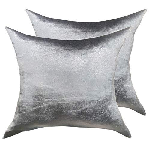 casamia Juego de 2 Cojines Decorativos para sofá, Terciopelo, 45 x 45 cm, Superficie Lisa, Color Gris Plateado