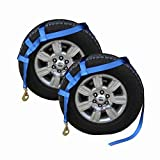 US Cargo Control Extra Large Tow Dolly Basket Strap - Blue Car Dolly Strap with Twisted Snap Hook End Fittings - for Wheel Sizes 17 Inches Or Larger - 3,333 Pound Working Load Limit - 2 Pack