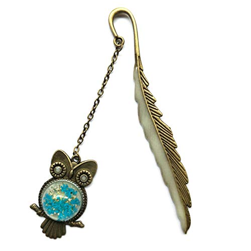 Creative Birthday Gift Bookmark for Kids Students Men Women Light Reflective,Fluorescence Resin Bronze Owl Page Makers