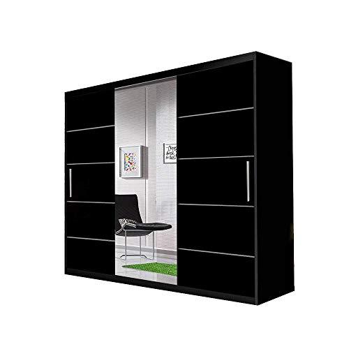Idzczak Meble Schwebetürenschrank Alba 250 cm, Schiebetürenschrank mit Spiegel, Kleiderschrank mit Kleiderstange und Einlegeboden, Schlafzimmerschrank, Schiebetüren, Modern Design