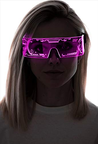 Cyberpunk LED-Visierbrille – perfekt für Cosplay und Festivals – Cybergoth – Cyberpunk-Brille, Pink (Htc01-pink), Einheitsgröße
