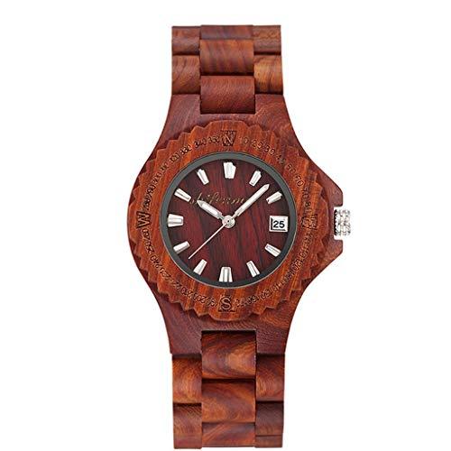 Reloj Rojo de sándalo Rojo, Industria Retro de la Moda Creativa - Relojes Naturales Puros y saludables, protección del Medio Ambiente, cálidos Regalos románticos (Color : A)