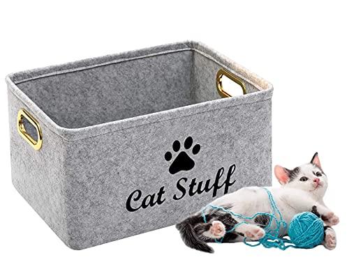 Xbopetda Felt Cat Toy Box, Cat T...