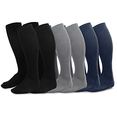 TeeHee Men's Bamboo Dress Over the Calf Socks Assorted Color 6-pack (Black, Grey, Navy) Sock Size 10-13